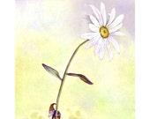 Gnome and Daisy Flower Greeting Card - Flowers Daisy Art - Gnome Art Watercolor Illustration Card Print