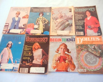 8 Workbasket and Vintage Knitting Magazines, Doilies, Sweaters, Afghans, and More, Begin to Knit, 1970, 1981