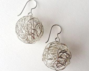 Silver Wire Ball Drop Earrings
