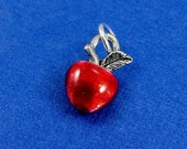 Red Apple Charm - Silver Plated Red Apple Charm for Necklace or Bracelet