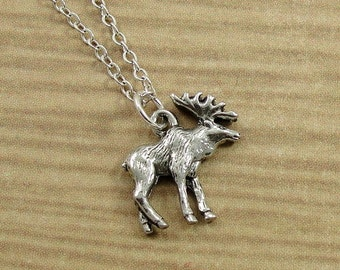 Moose Necklace, Silver Moose Charm on a Silver Cable Chain