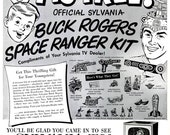 1952 Buck Rogers Space Ranger Kit Sylvania TV Advertisement Atomic Space Age Astronomy Astronaut Intergalactic Galaxy Wall Art Home Decor