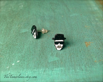 Breaking Bad Heisenberg Post Earrings cartoon illustration Walter White Jessie Pinkman