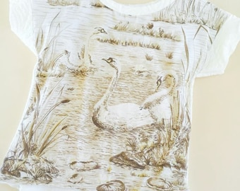 Vintage swan tee made to order in size 1-6
