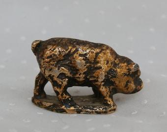 Miniature Cast Metal Pig Figurine Copper Colored