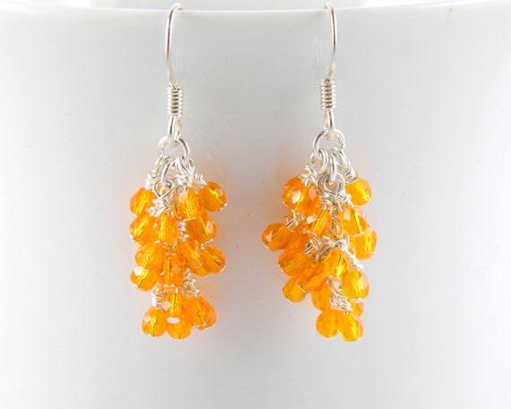 Bright Orange Cascade Earrings with Surgical Steel Ear Wires, Orange Dangle Earrings
