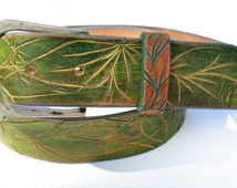 Mothers day Gift Five 5 Seconds of Summer  leather belt women - Green belt with golden curving - wide Leather  belt - custom leather belts
