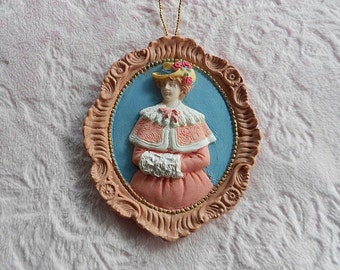 VICTORIAN LADY ORNAMENT Pink Blue Cameo Woman Muff Hat Bonnet Oval Hanging Tree Plaque Rose Floral Flower Ornate Frame Border Girl Embossed