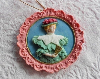 VICTORIAN LADY ORNAMENT Pink Blue Cameo Woman Fan Hat Bonnet Oval Hanging Tree Plaque Rose Floral Flower Ornate Frame Border Girl Emboss Nos