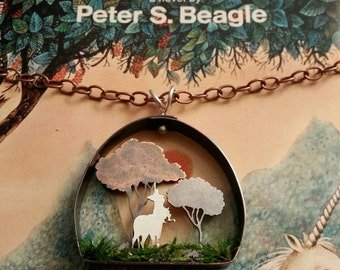 The Last Unicorn terrarium necklace, sculptural 3D scene
