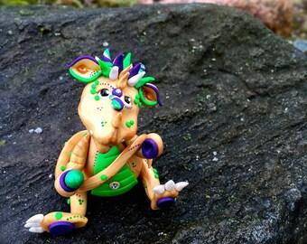 Polymer Clay Dragon 'Nola' - Mardi Gras Collection - Limited Edition Handmade Collectible
