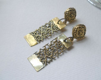 Brass Bar with Open Filigree Post Earrings