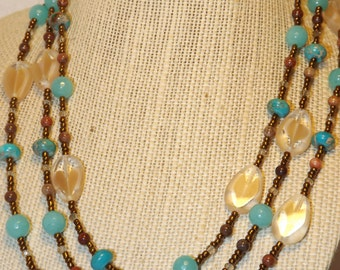 Brown Glass and Stone Necklace