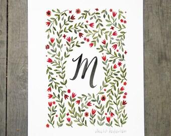 Monogram Letter M floral art print