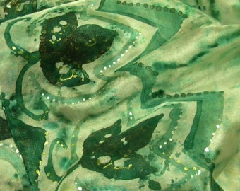 Emerald and white handpainted silk scarf with Royal Lilies. OOAK soft shiny ponge silkscarf with shiny dark greeen patterns.