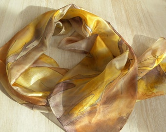 """Sun yellow beige sand painted silk scarf """"Gold and Honey"""". Original hand painted art scarf, artist made gift for friend with healing energy"""