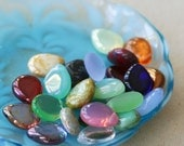 Large Flat Teardrop Beads - Smooth Glass Briolette - Czech Glass Beads - Jewelry making Supply - Pear Drop  12x16 (30 beads) Assortment