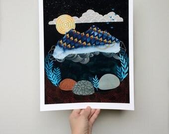 Midnight // 11 x 14 large eco-friendly wall art mountain print