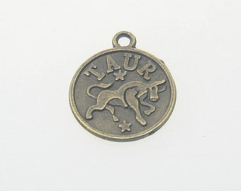 5 pcs Zinc Antique Brass Taurus Horoscope Decorations Findings 11x21 mm. TR Br 1121 140 CHM BC