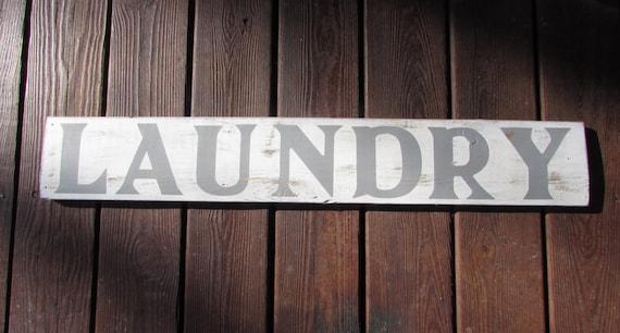 Reclaimed Wood Laundry Sign. Laundry Room Wood Sign. Handmade