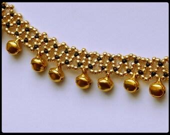 Gold Bell Anklet, Bohemian Anklet, Beaded Ankle Bracelet, Belly Dance Anklet, Cute Ankle Bracelet,Dangle Anklet, Gypsy Bell Anklet