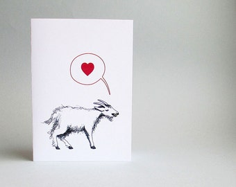 Goat love anniversary card, wedding card. Cute funny card for all loving occasions. Blank inside.