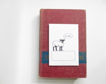 Sheep book plate stickers. Ex Libris sheep bookplates, set of 17 plus envelope. Custom printing option. Gift for book lovers.