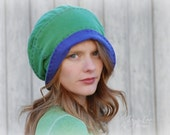 Slouchy Beanie Hat, Festival Style, Green Purple, Upcycled Recycled Repurposed T-shirt Hat