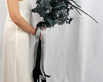 Halloween Wedding Bouquet * Black and Silver Wedding Bouquet * Black Bridal Bouquet * Goth Wedding Bouquet * Halloween Bridal Bouquet