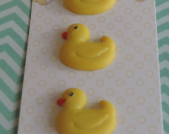 "Duck Chick Buttons, Baby Hugs Collection ""Ducky"" by Buttons Galore, Carded set of 3 Buttons, Shank Back Buttons, Embellishments"