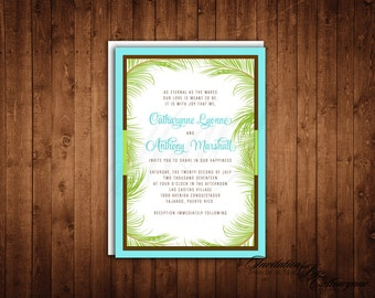 Tropical Wedding Invitations, Palm Leaves Invitation, Palm Tree, Destination Wedding, Turquoise Lime Green Invitation, Summer, TPLC-CP0201