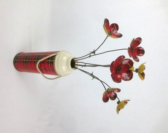 Tartan Bouquet Large  Red Plaid Forever Blooming Metal Flowers