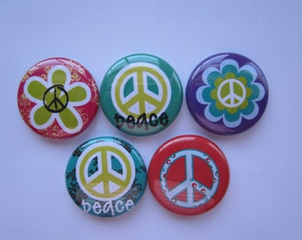 set of 5 peace sign  Mini 1 inch magnets or 1.25 inch button magnets  you choose size