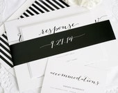 Elegant Wedding Invitation - Black, White, Striped - Unique, Stylish, Calligraphy Wedding Invite - Flowing Script Wedding Invitation