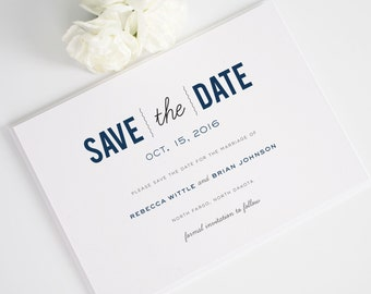 Date Monogram Save the Date - Modern Save the Date shown in Navy Blue - Deposit