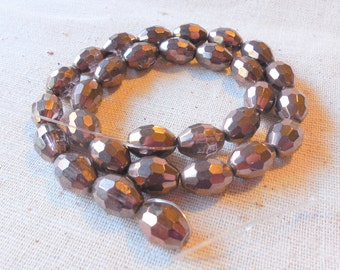 Vintage Faceted Bronze Glass Oval Beads (approx 30) - 13mm x 10mm