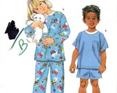 Kids Pajamas Sewing Pattern - Simplicity 4727 - Size 3 to 8 UNCUT OOP