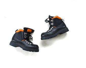 FLASH SALE Vintage Ankle Boots Size 6 / Platform Ankle Boots / Black Leather Ankle Boots