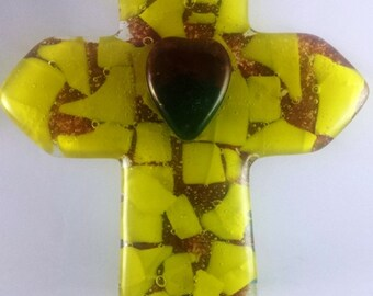 Cross yellow walnut brown art glass heart faith for cross wall