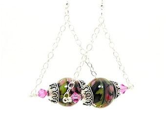 Dangle Earrings, Lampwork Earrings, Glass Earrings, Chain Earrings, Unique Earrings, Unusual Earrings, Glass Bead Earrings