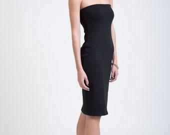 Tube Dress / Black Dress / Casual Fitted Dress / Midi Dress / Summer Dress / Cocktail Dress / marcellamoda Signature Design - MD258