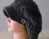 Dark Grey Newsboy Slouchy Hat Urban Hippy Hipster Hat Custom Order Your Color