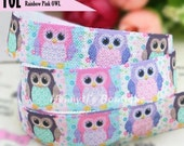 "5/8"" FOE : Cute Shabby Pink OWL  Cartoon Printed Pastel Patterned Fold Over Elastic Stretch Band 2, 5, 10 Yards. DIY Headband Supplies"