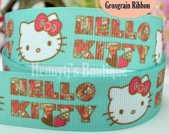 "4 yards: Hello Kitty Pink Bow Character Cartoon Logo Brand Inspired AQUA Green Grosgrain Ribbon 7/8"" inch wide. Gift Wrap. DIY Supplies."