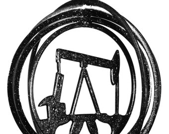 Oil Pump Jack Rig Tini Swirly Metal Wind Spinner