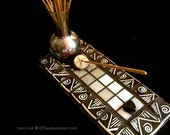 mosaic tile,incense holder Not Just Black and White incense burner in black and white recycled china and tile one of a kind