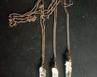 Raw Quartz Crystal Spear Wire Wrapped Necklace - FREE Shipping