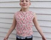 Vintage Girls Print Shirt Sleeveless 10