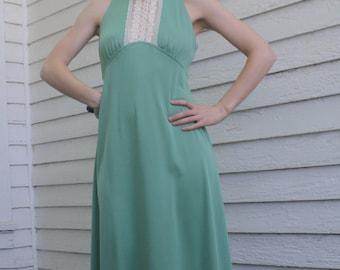 70s Green Dress Retro Victorian Maxi Lace Collar Hippie Vintage XS