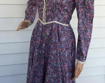 Gunne Sax Floral Prairie Dress Purple Country Print Vintage 7 XS
